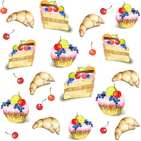 Seamless background.  Illustrations of the cake and croissant. Vector