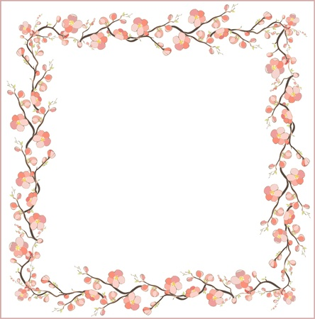 japanese garden: Beautiful decorative framework with flowers. Greeting card with cherry flower.