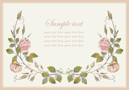 invitaci�n matrimonio: Tarjeta de felicitaci�n con rose. Vectores