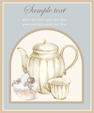 Illustrations of the coffee pot and croissant and cup. Menu. Vector