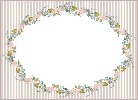 Beautiful decorative framework with flowers. Greeting card with forget-me-not end rose. Vector
