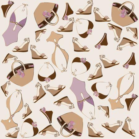 Illustration of vintage bathing suit, bag, summer footwear. Seamless background fashionable modern wallpaper or textile. Vector