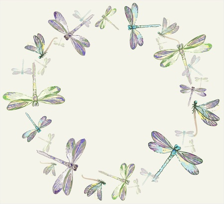 Beautiful decorative framework with dragonfly.Greeting card with dragonfly.