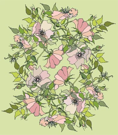 Greeting card with wild rose. Vector