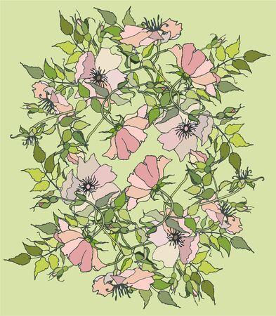wild rose: Greeting card with wild rose.