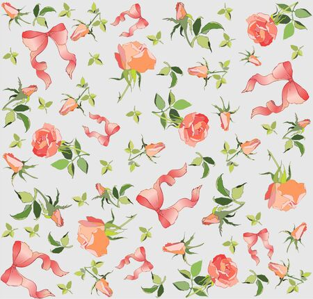 Seamless background. Illustration  rose and  bow. Vector