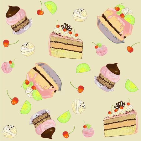 Seamless background.  Illustrations of the cake. Vector