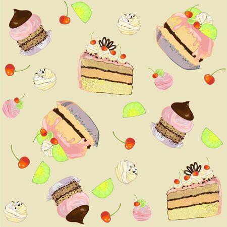 vanilla cake: Seamless background.  Illustrations of the cake. Illustration