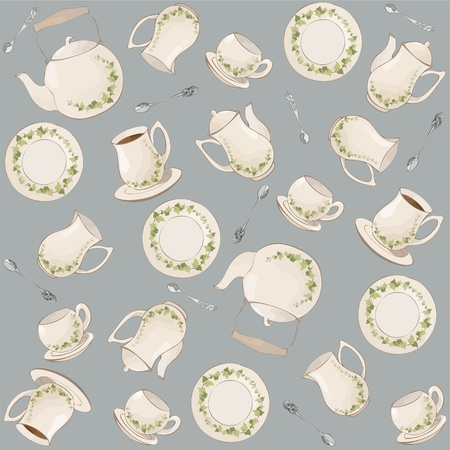 Seamless background.  Illustrations coffee pot,teapot,spoon,plate. Vector