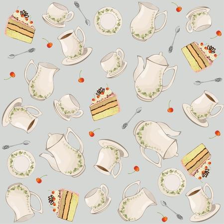 Naadloze achtergrond. Illustraties koffiepot, theepot, lepel, bord, cake.