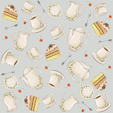 Seamless background.  Illustrations coffee pot,teapot,spoon,plate,cake.