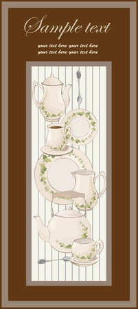 Illustrations coffee pot,teapot,spoon,plate.Menu. Vector