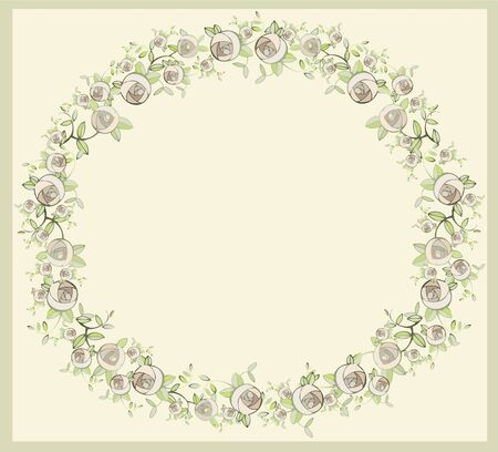 Beautiful decorative framework with flowers. Greeting card with rose. Vector