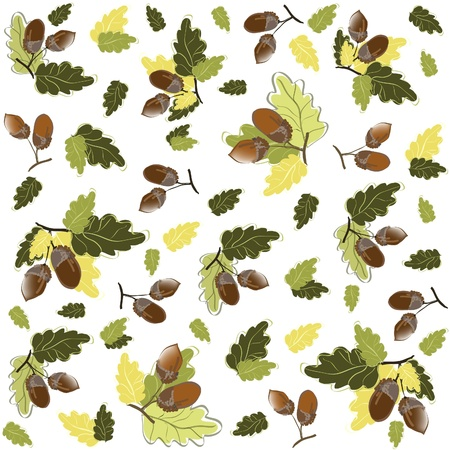 Autumn seamless background. Illustration  acorns.