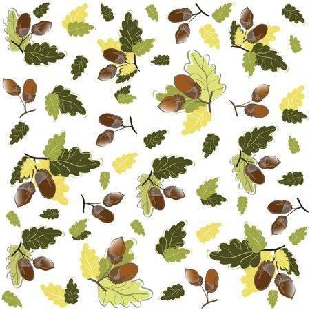 Autumn seamless background. Illustration  acorns. Stock Vector - 9525071