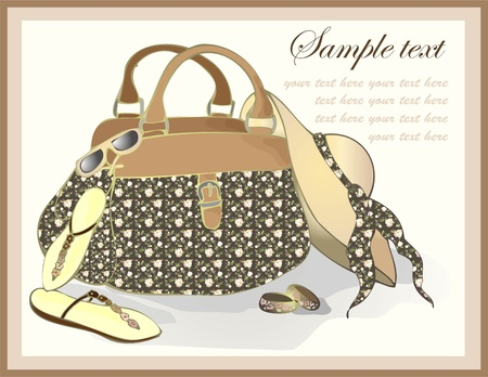 fashion bag: Greeting card with a beach bag, a hat, footwear, points. Illustration