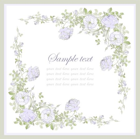 Greeting card with rose. Beautiful decorative framework with flowers.