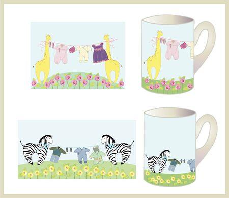 Set of children's cups. Stock Vector - 9655949