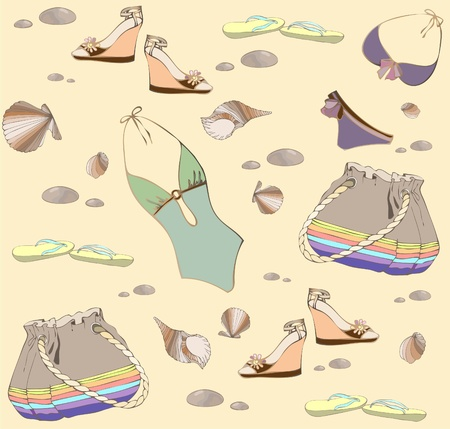 accessory: Illustration of vintage bathing suit, bag, summer footwear. Seamless background fashionable   modern wallpaper or textile.