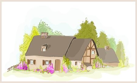 Illustration de la petite maison. Illustration de la ferme.