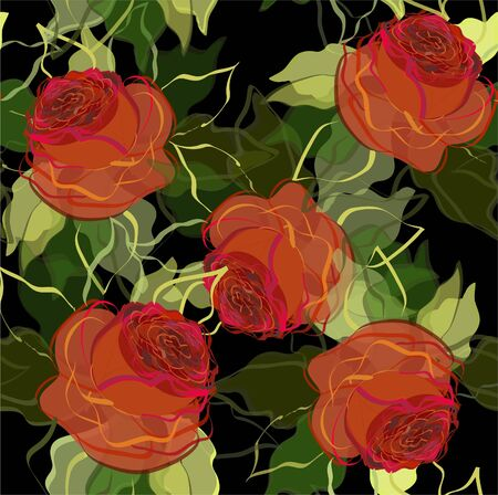 Retro floral background. Beautiful illustration with roses. Vector