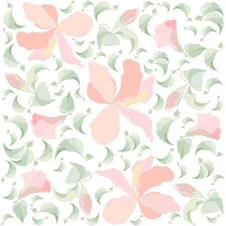 Seamless background.Illustration  hibiscus Vector