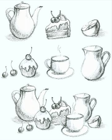fruitcake: Illustration of a fruitcake, pie, cup, coffee pot,teapot, milk jug, fruit. Menu. Illustration