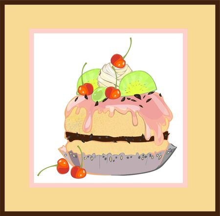 Illustrations of the cake.Menu.   Stock Vector - 9719729