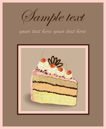 Illustrations of the cake.Menu. Vector