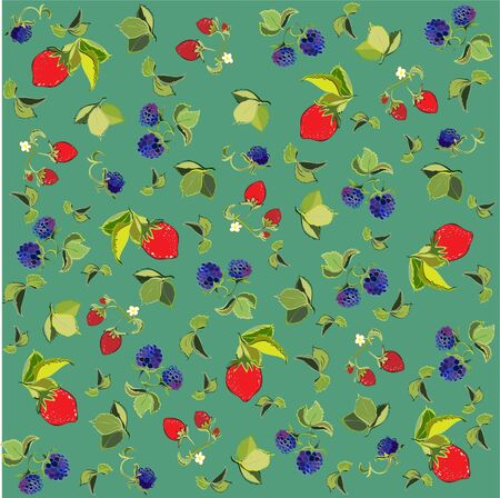Seamless background from a berry ornament, fashionable modern wallpaper or textile. Vector