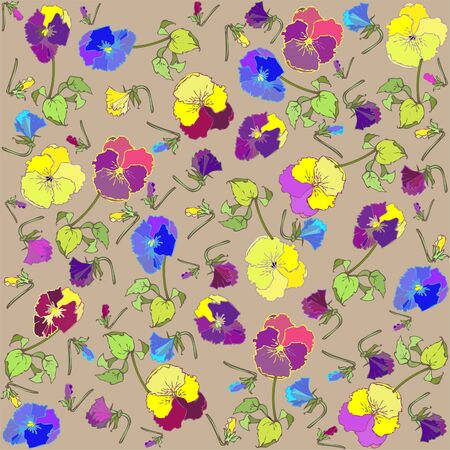 Seamless background from a flowers ornament, fashionable modern wallpaper or textile.Pansies.  Vector