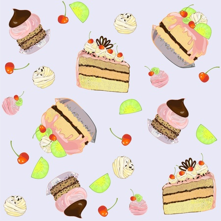 Seamless background.  Illustrations of the cake. Stock Vector - 9719781