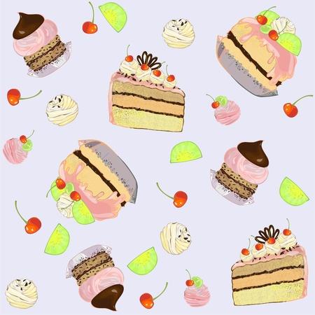 fruitcake: Seamless background.  Illustrations of the cake. Illustration