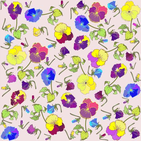 Pansies. Seamless background from a flowers ornament, fashionable modern wallpaper or textile. Vector