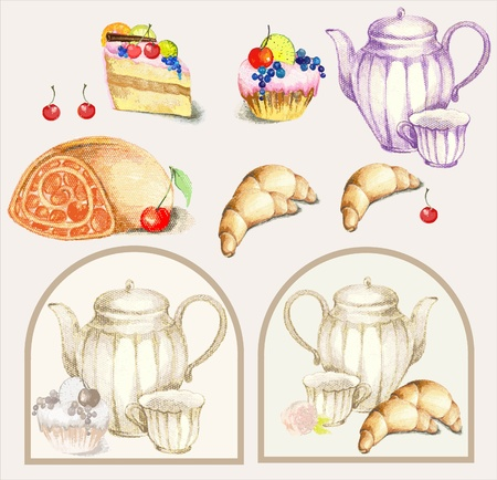 Illustration of a fruitcake, pie, croissant, cup, coffee pot,teapot, milk jug, fruit. Menu. Vector
