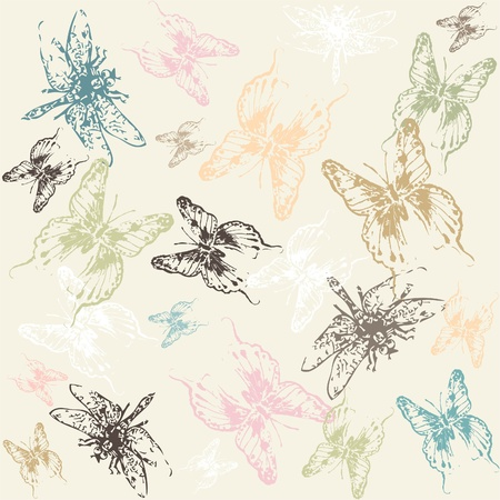 Seamless background with  dragonflies and butterflies. Vector