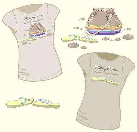 Element for design. Womens t-shirt illustration. Vector