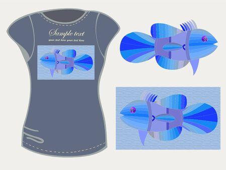 exotic fish: Elemento di design. Illustrazione di t-shirt femminile.Pesci esotici illustrazione.