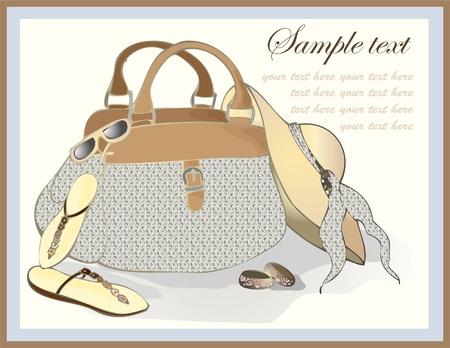 hand bag: Tarjeta de felicitaci�n con una bolsa de playa, sombrero, calzado, se�ala.