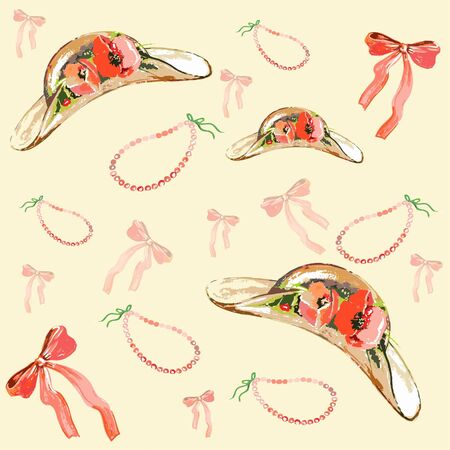 Vintage travel accessories. Seamless background. Vector