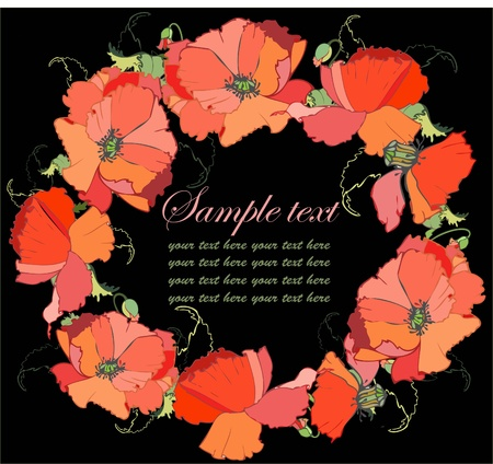 Decorative framework. Greeting card with a bouquet of poppy. Stock Vector - 9779120