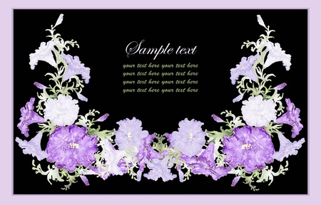 petunia: Greeting card with petunia . Beautiful decorative framework with flowers.