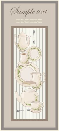 illustrations coffee pot,teapot,spoon,plate.menu. Stock Vector - 9932446