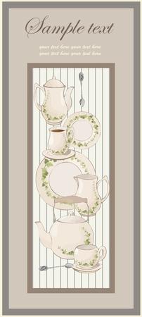 illustrations coffee pot,teapot,spoon,plate.menu. Vector