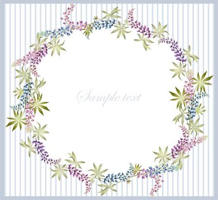 lupin: biglietto di auguri con lupino. bellissimo quadro decorativo con i fiori. Vettoriali
