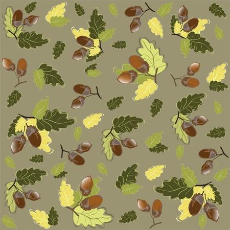 autumn park: Autumn seamless background. Illustration  acorns.