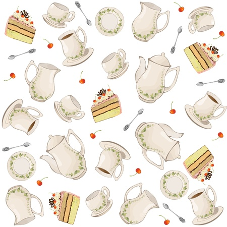 Seamless background.  Illustrations coffee pot,teapot,spoon,plate,cake. Vector