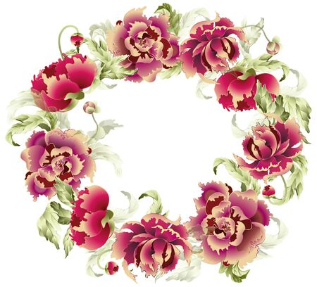 Beautiful decorative framework with peony. Illustration peony. Illustration