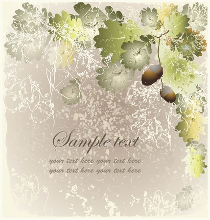 Greeting card with acorns.Autumn  background.