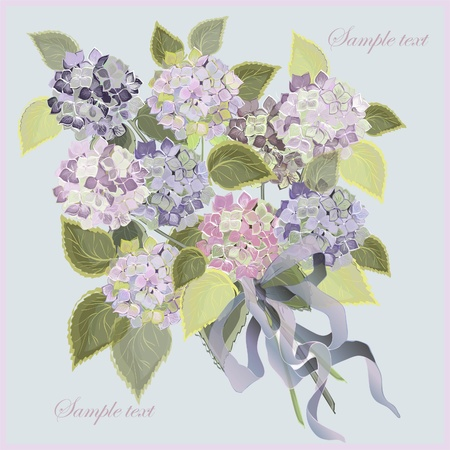 Greeting card with a bouquet of hydrangea. Vector